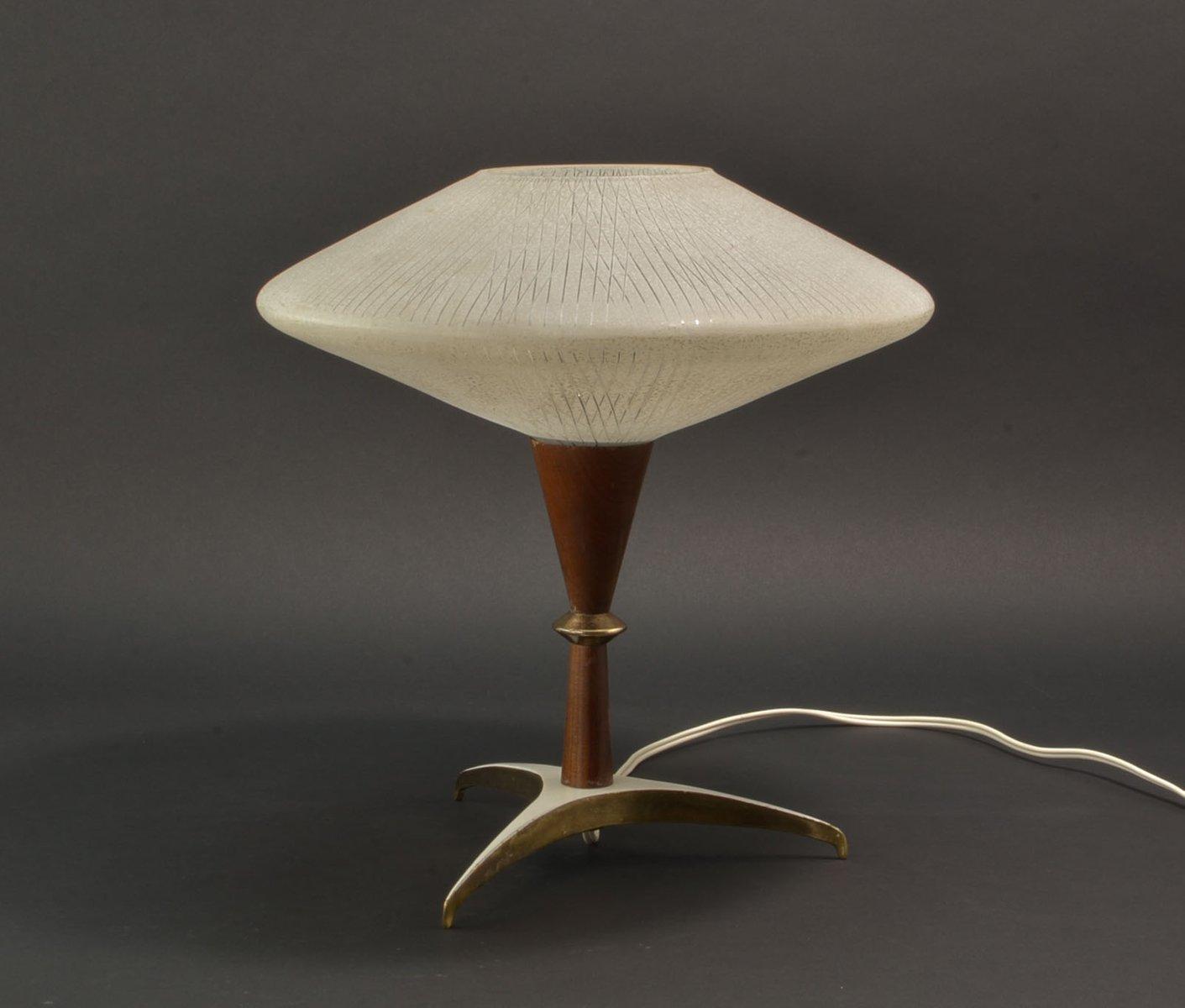 Mid-Century Tischlampe aus Teak, Messing & Glas, 1950er
