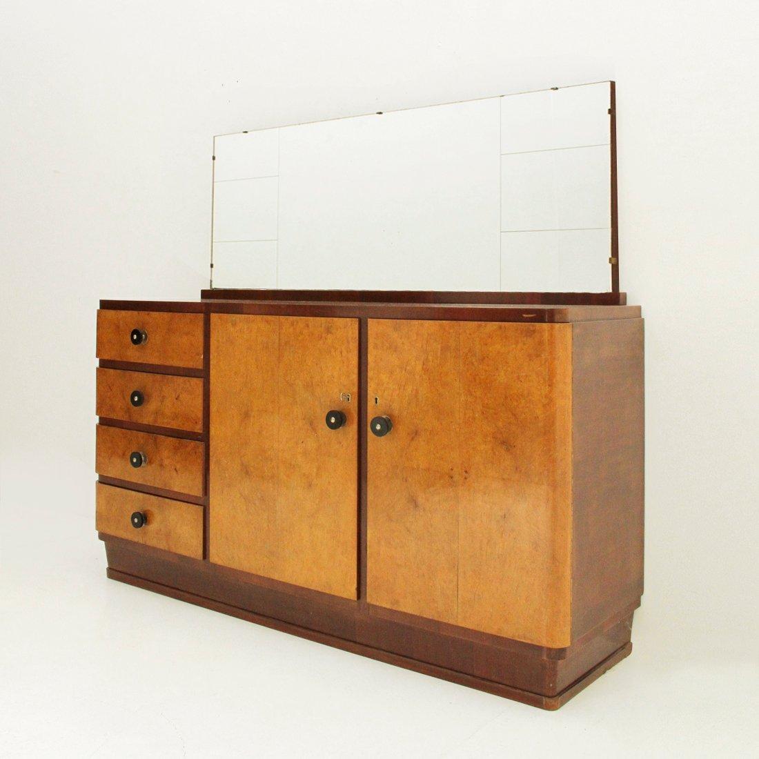 Italienisches Vintage Sideboard & Spiegel, 1930er