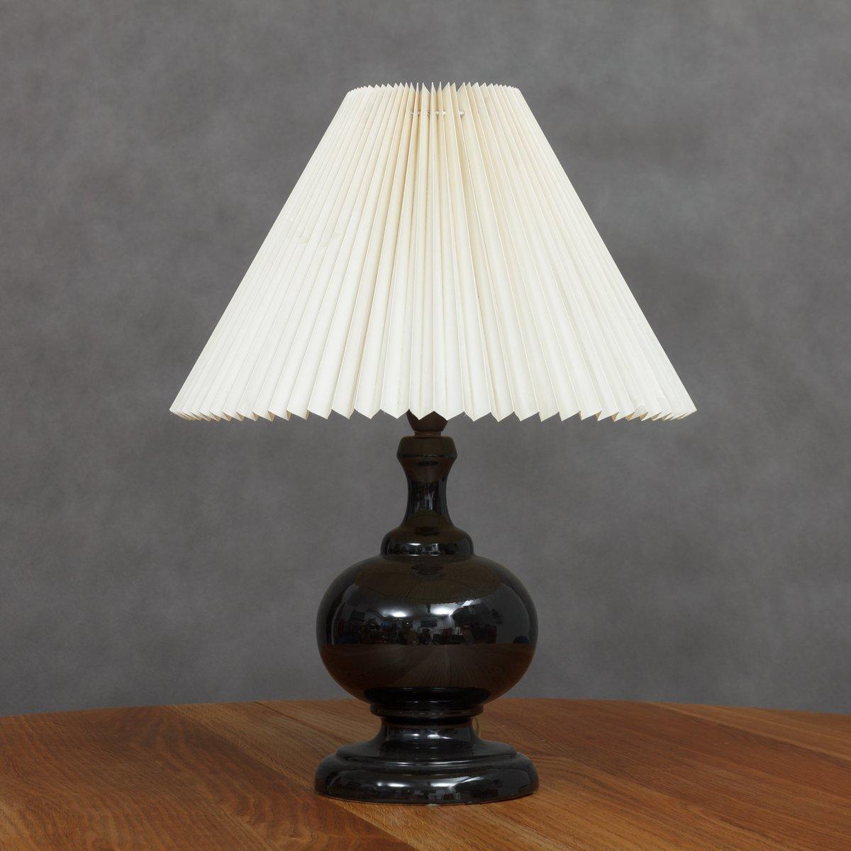 Schwarze Keramik Lampe, 1960er