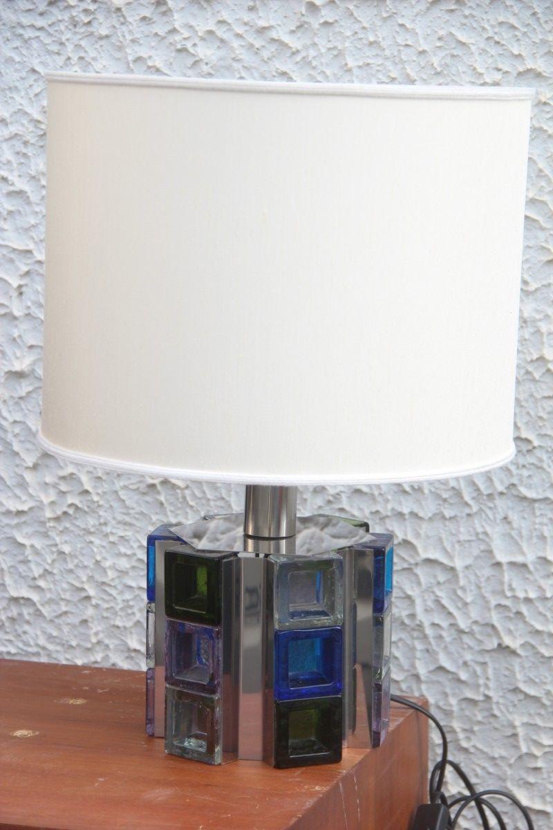 Tischlampe mit Farbigen Würfeln von Poliarte, 1970er