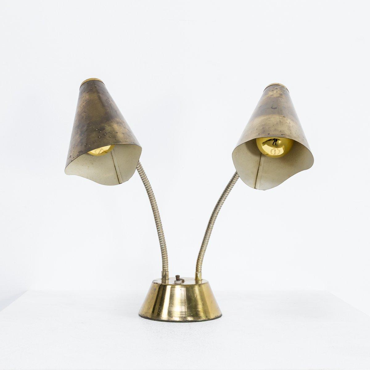 Doppelschalter Tischlampe aus Messing & Metall, 1960er