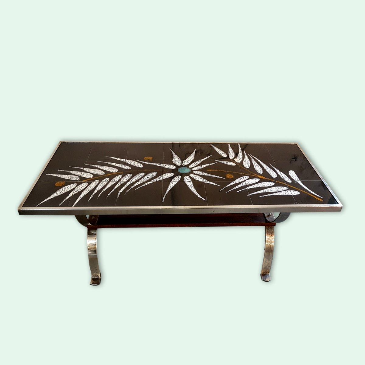 gefliester couchtisch mit farnkraut motiv 1960er bei pamono kaufen. Black Bedroom Furniture Sets. Home Design Ideas