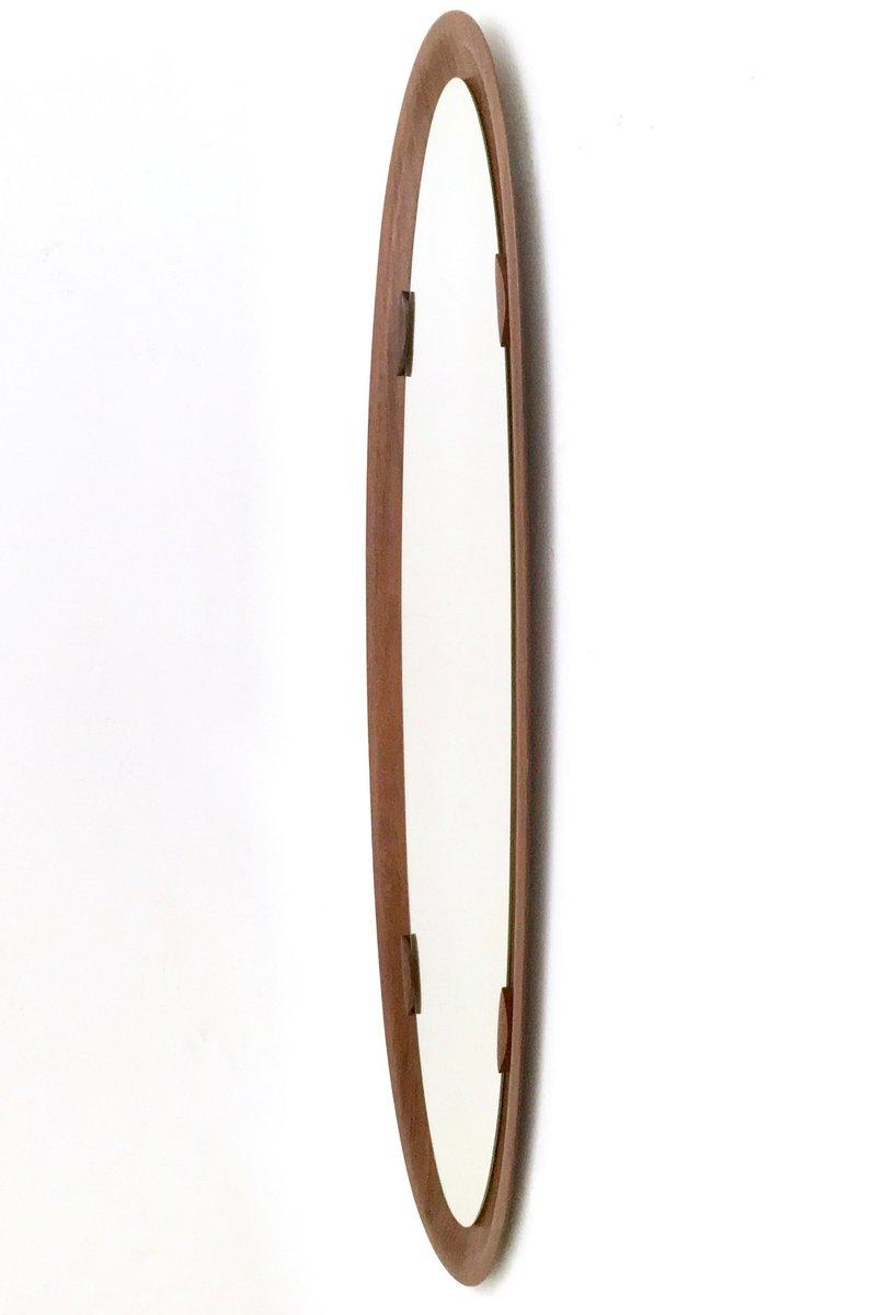 ovaler italienischer vintage wandspiegel mit palisander. Black Bedroom Furniture Sets. Home Design Ideas