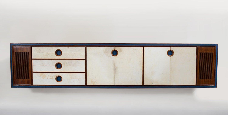 Großes Mid-Century Palisander & Pergament Sideboard