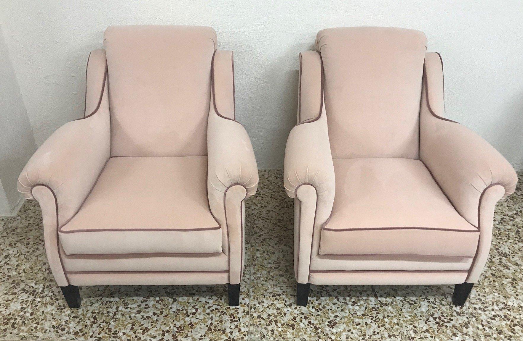 Sessel aus Samt in Rosa, 1950er, 2er Set