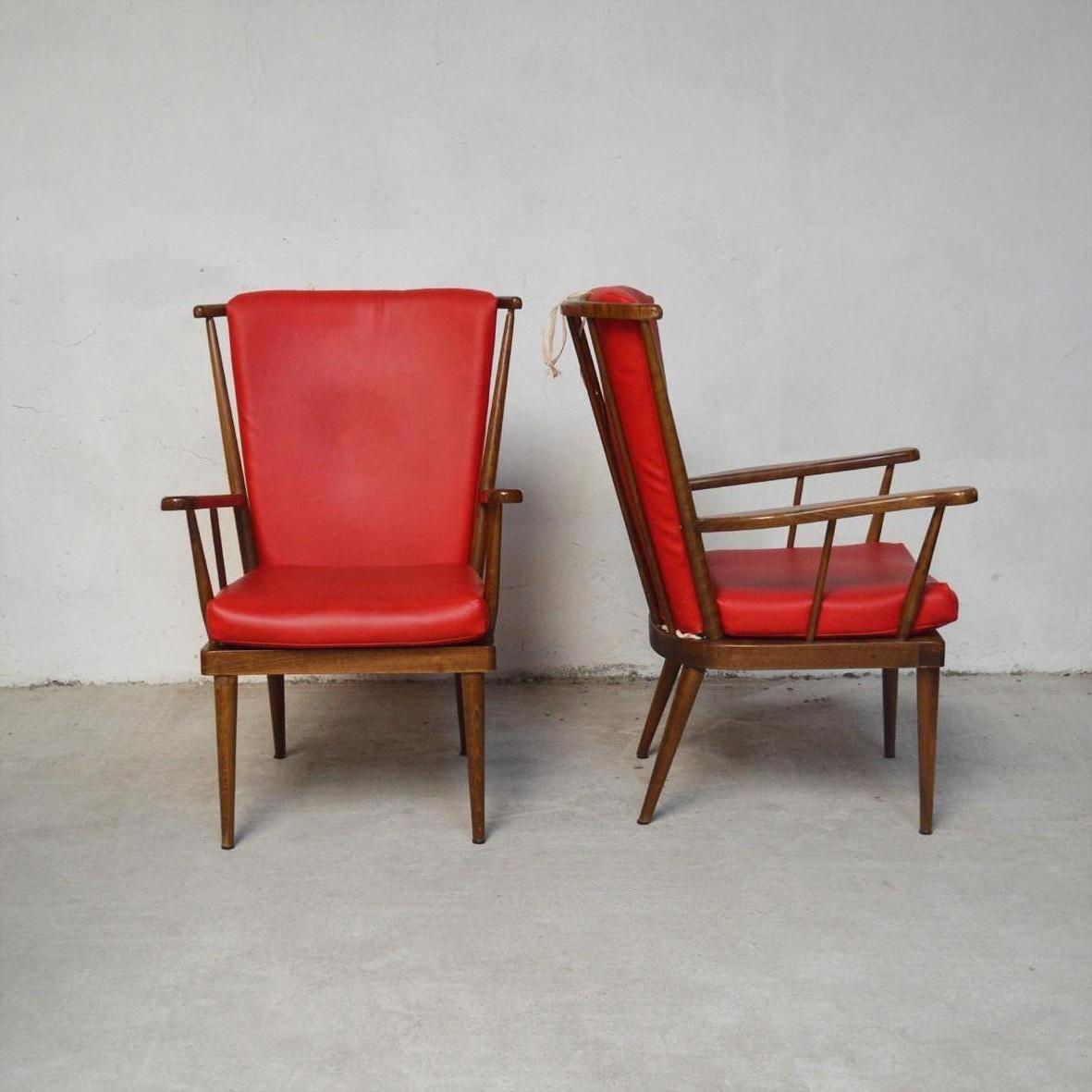 Red Éventail Sessel von Baumann, 1950er, 2er Set