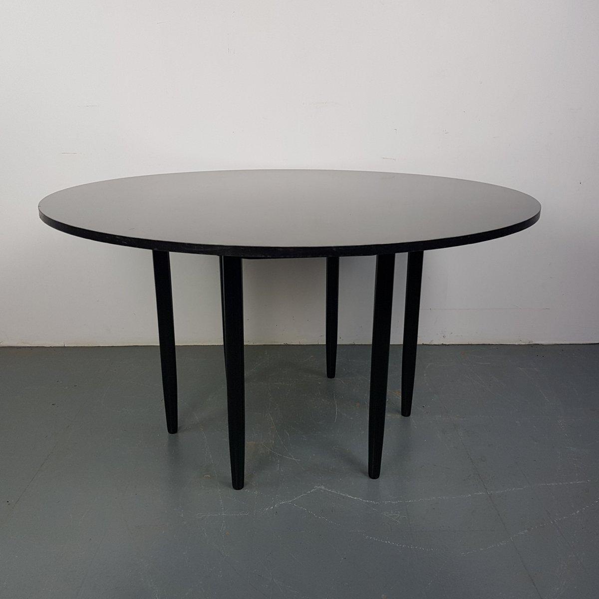 table ronde vintage noire 1960s en vente sur pamono. Black Bedroom Furniture Sets. Home Design Ideas