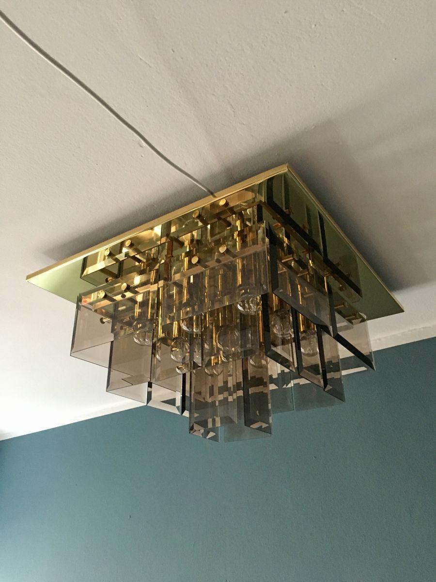 Geometrische Messing & Rauchglas Deckenlampe von Hillebrand, 1960er