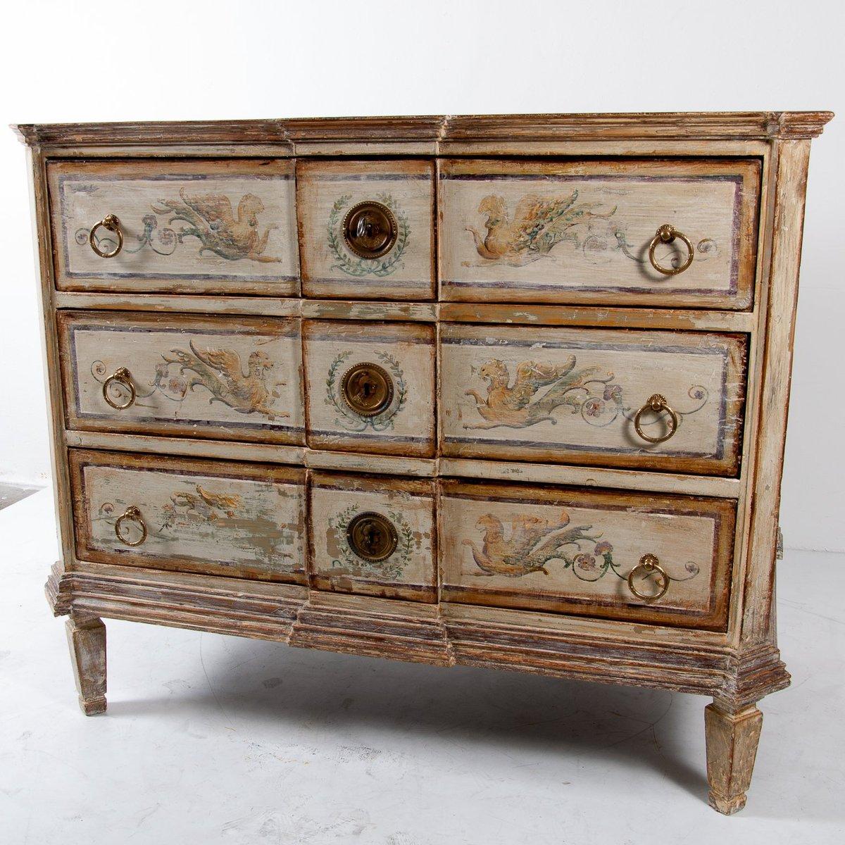 Bemalte Kommode im Louis XVI Stil, 19. Jh.