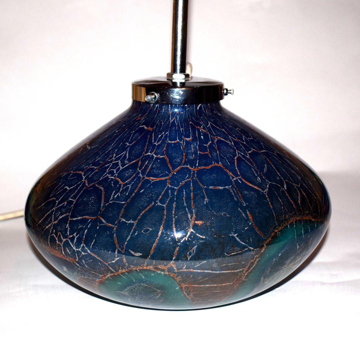 ikora tischlampe aus blauem gr nem glas von wiedmann f r wmf 1930er bei pamono kaufen. Black Bedroom Furniture Sets. Home Design Ideas