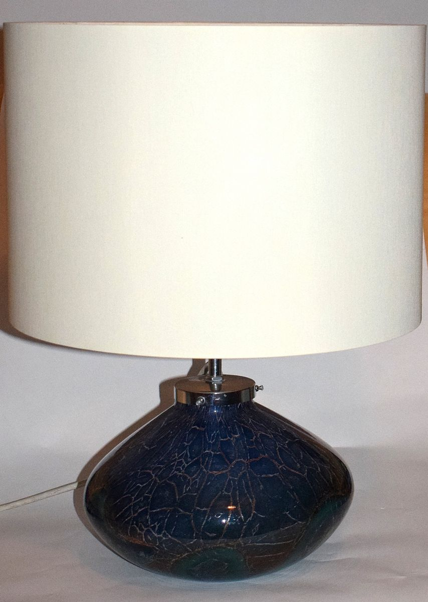 Ikora Blue And Green Glass Table Lamp By Wiedmann For WMF, 1930s