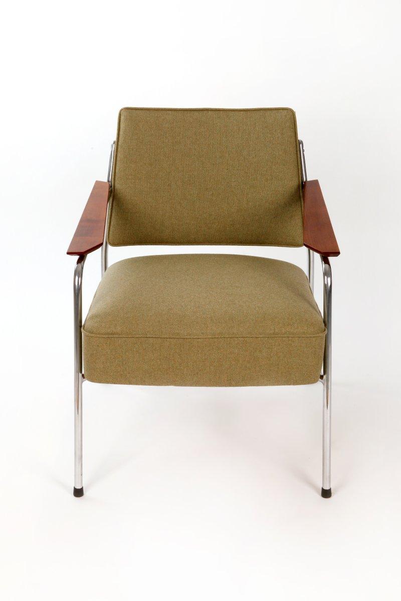 Vintage Chrom Sessel mit italienischem Wollbezug