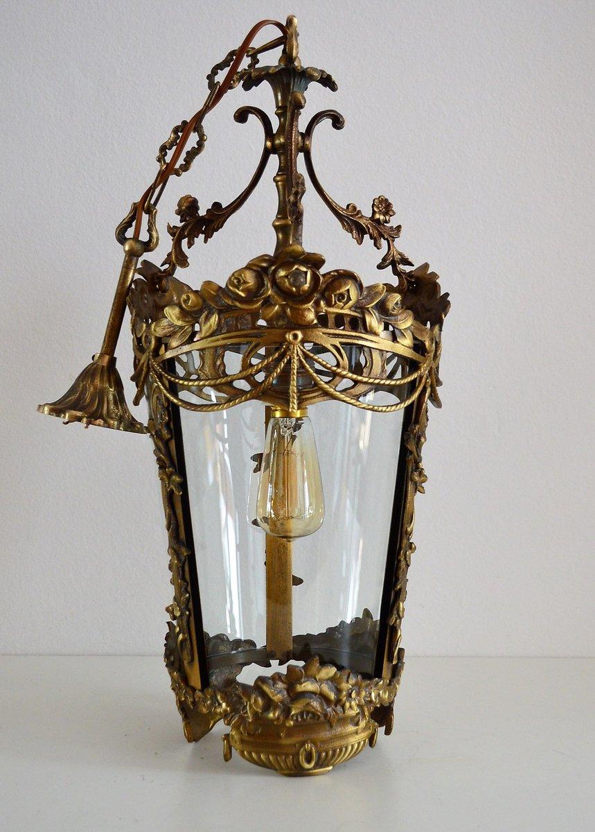 Lanterne Fleur & Guirlande en Bronze, Italie, 1950s en vente sur Pamono