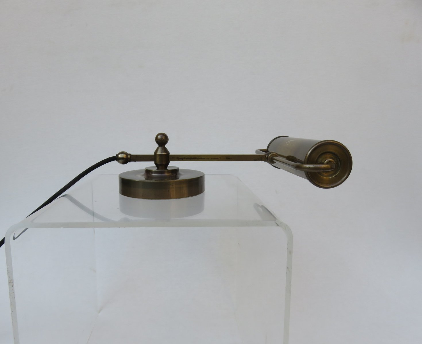 Polierte Messing Art Deco Piano Lampe von Robert Pfäffle