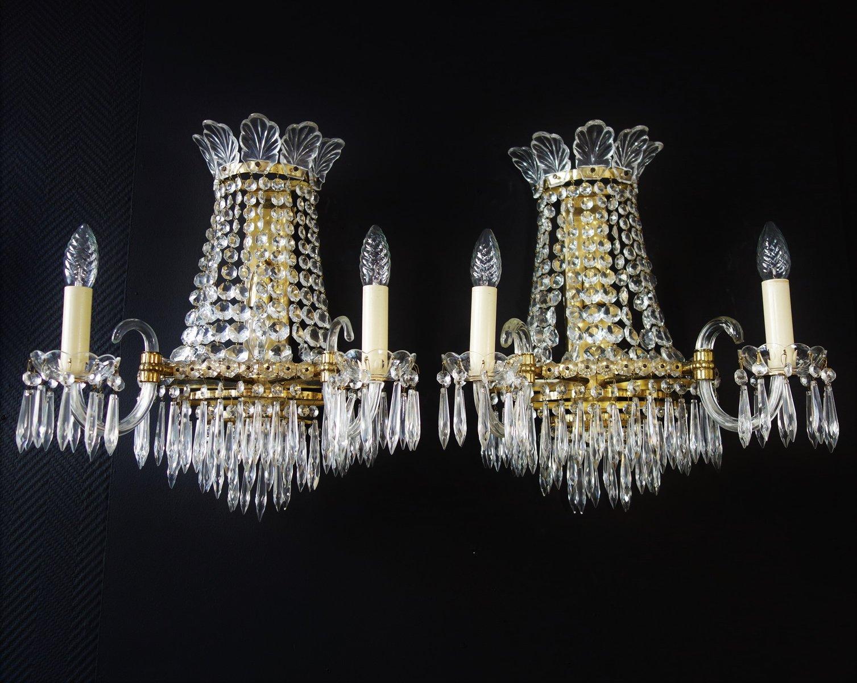 Vintage Wandleuchten aus Kristallglas, 2er Set