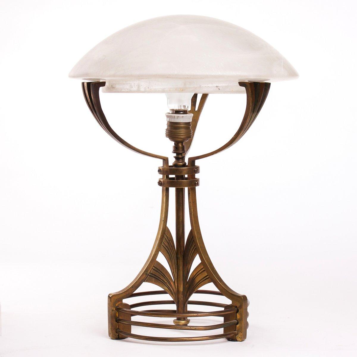 Jugendstil Messing & Glas Tischlampe