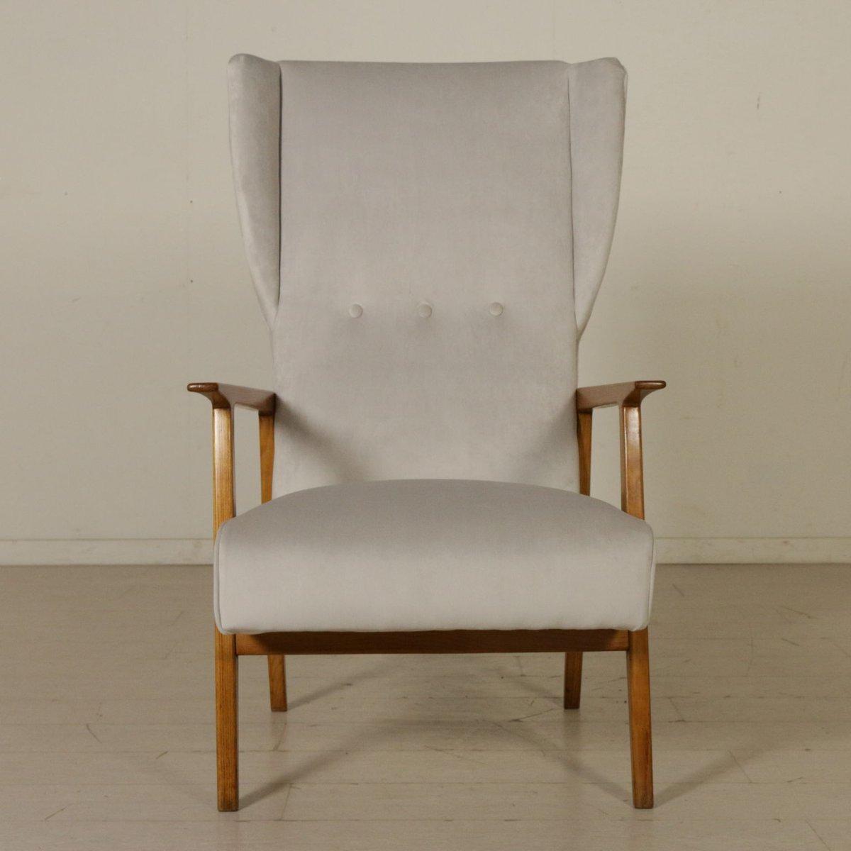 Italienischer Sessel aus Eichenholz und Samt, 1950er
