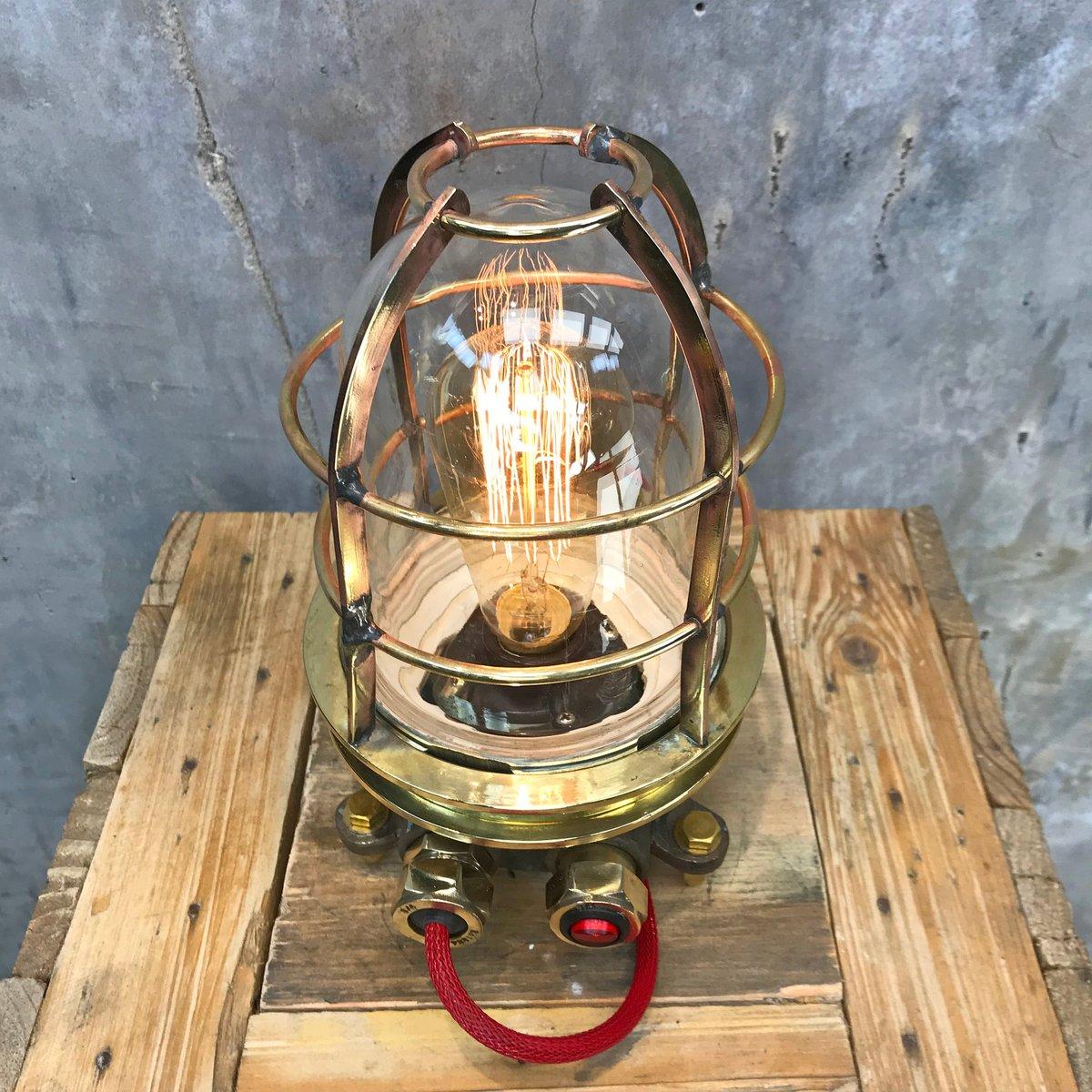 Industrielle Stahl & Messing Schreibtischlampe mit Glasschirm & Edison...