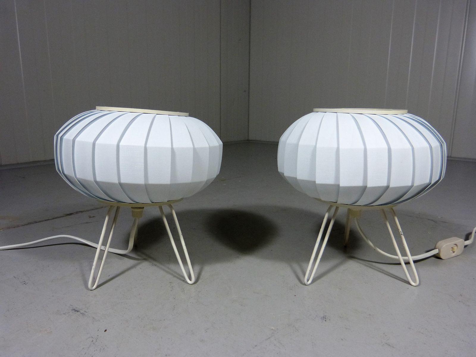 Vintage UFO Tischlampen mit Haarnadelbeinen, 1950er, 2er Set