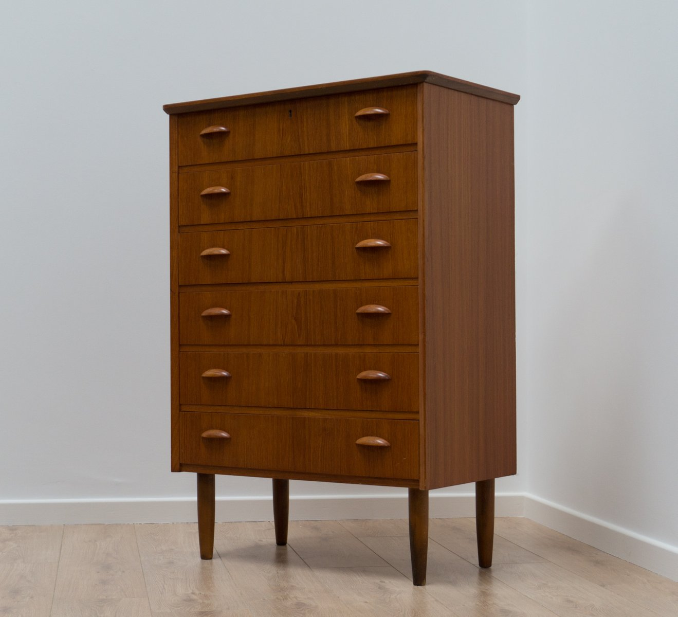 Mid Century Danish Teak Tall Boy, 1950s
