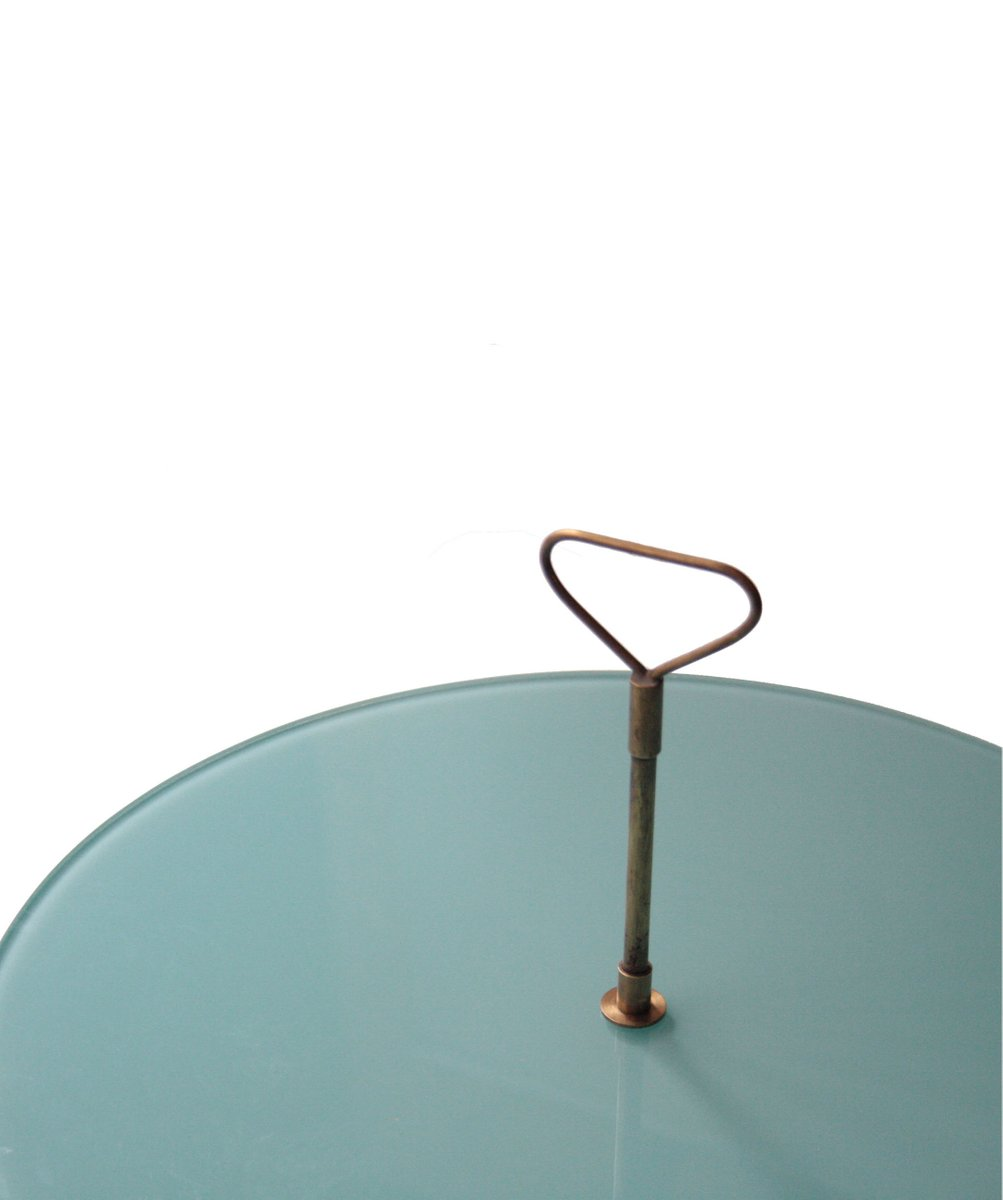 Table d Appoint avec Pieds Dorés et Plateau en Verre Vert, 1950s en ... 286b394026ac