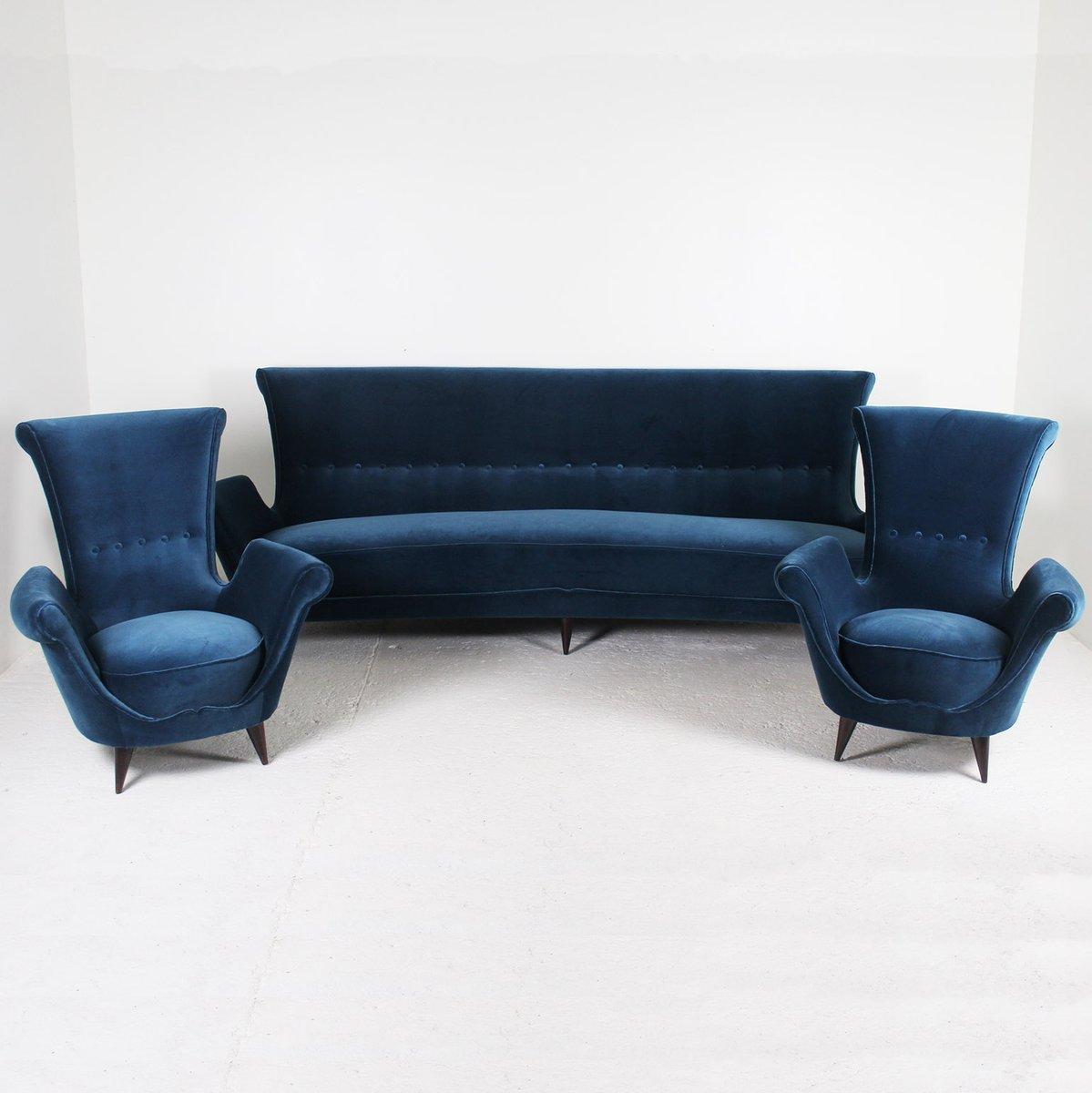 blaues samt sofa 1950er bei pamono kaufen. Black Bedroom Furniture Sets. Home Design Ideas