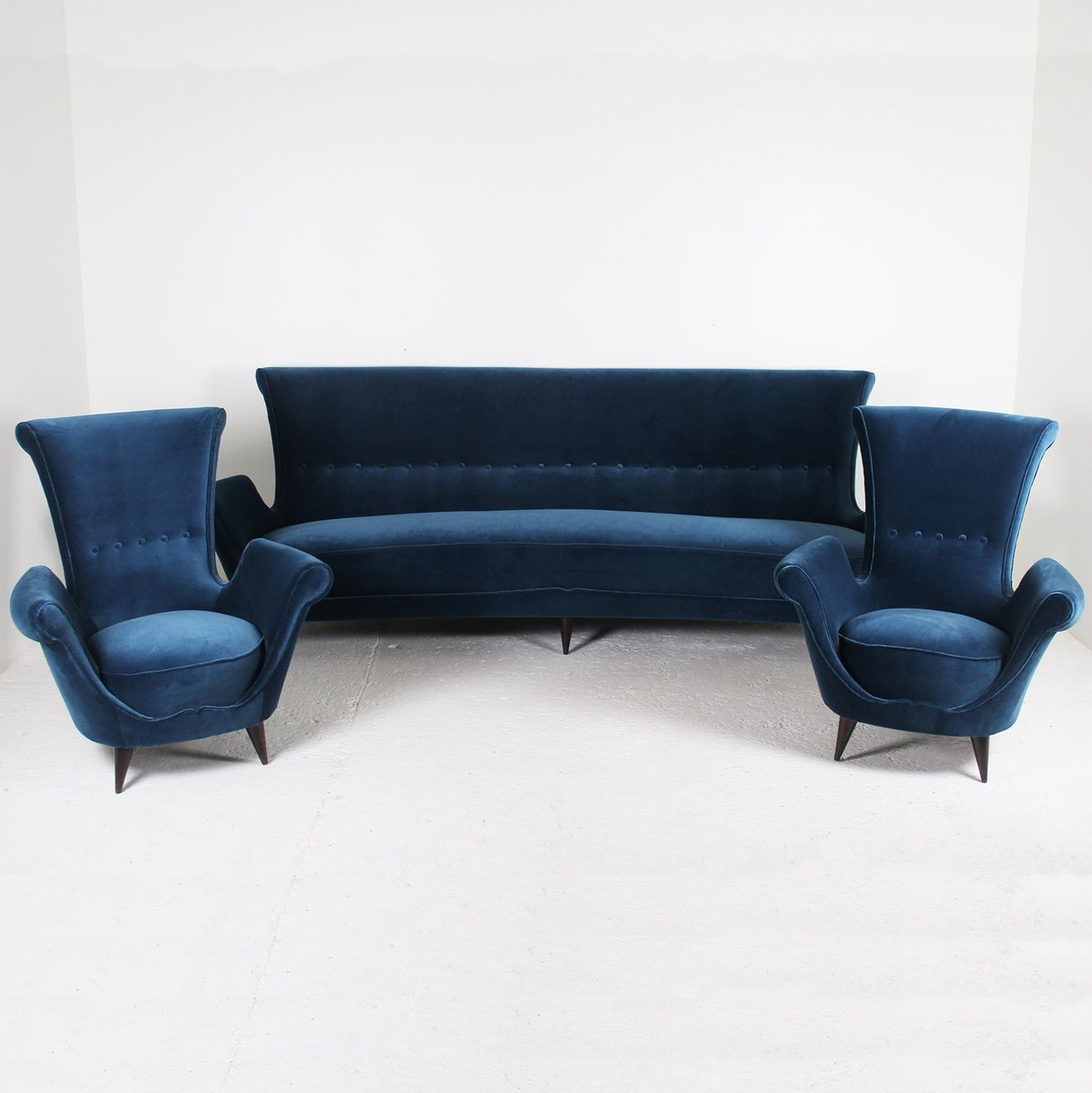 Sof de terciopelo azul a os 50 en venta en pamono - Sofa terciopelo azul ...