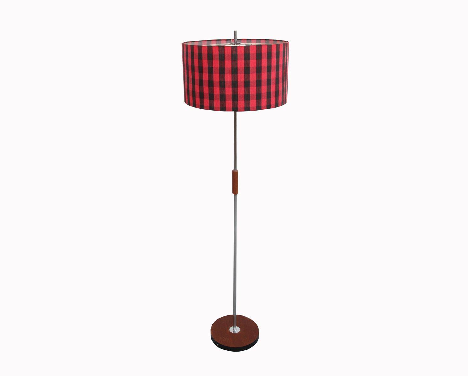 Schwarz und Rot Gemusterte Stehlampe, 1960er