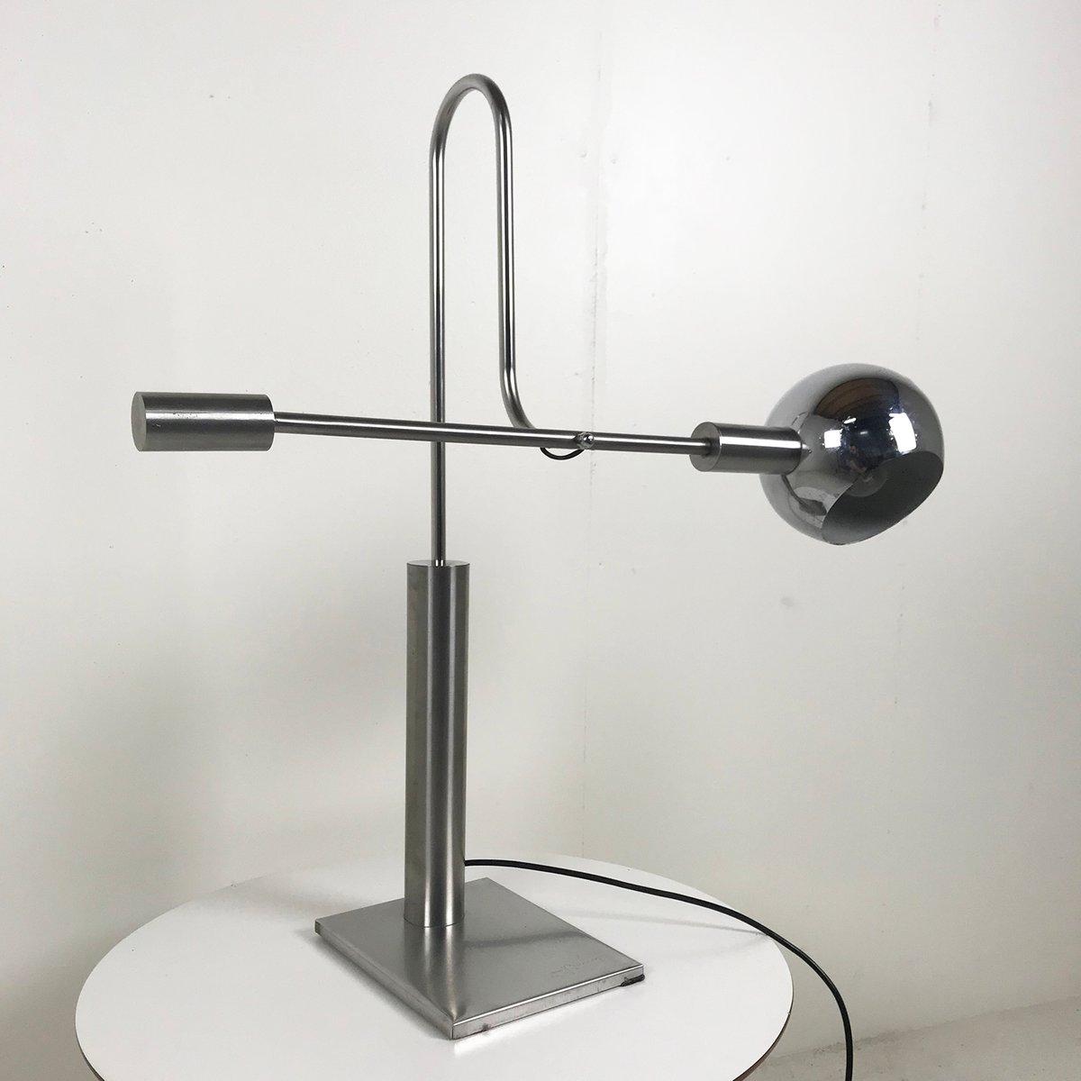 Schreibtischlampe aus verchromtem Metall von J. Bouvier, 1970er