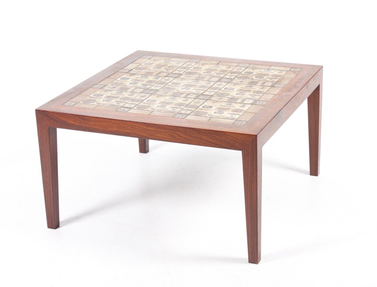 Palisander Tisch mit Fliesen von Severin Hansen für Haslev Møbelsnedke...