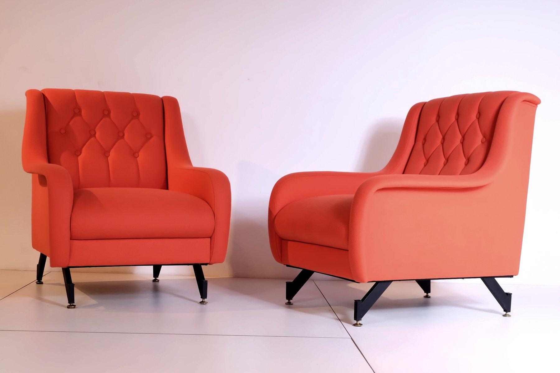 Orange Italienische Sessel, 1960er, 2er Set