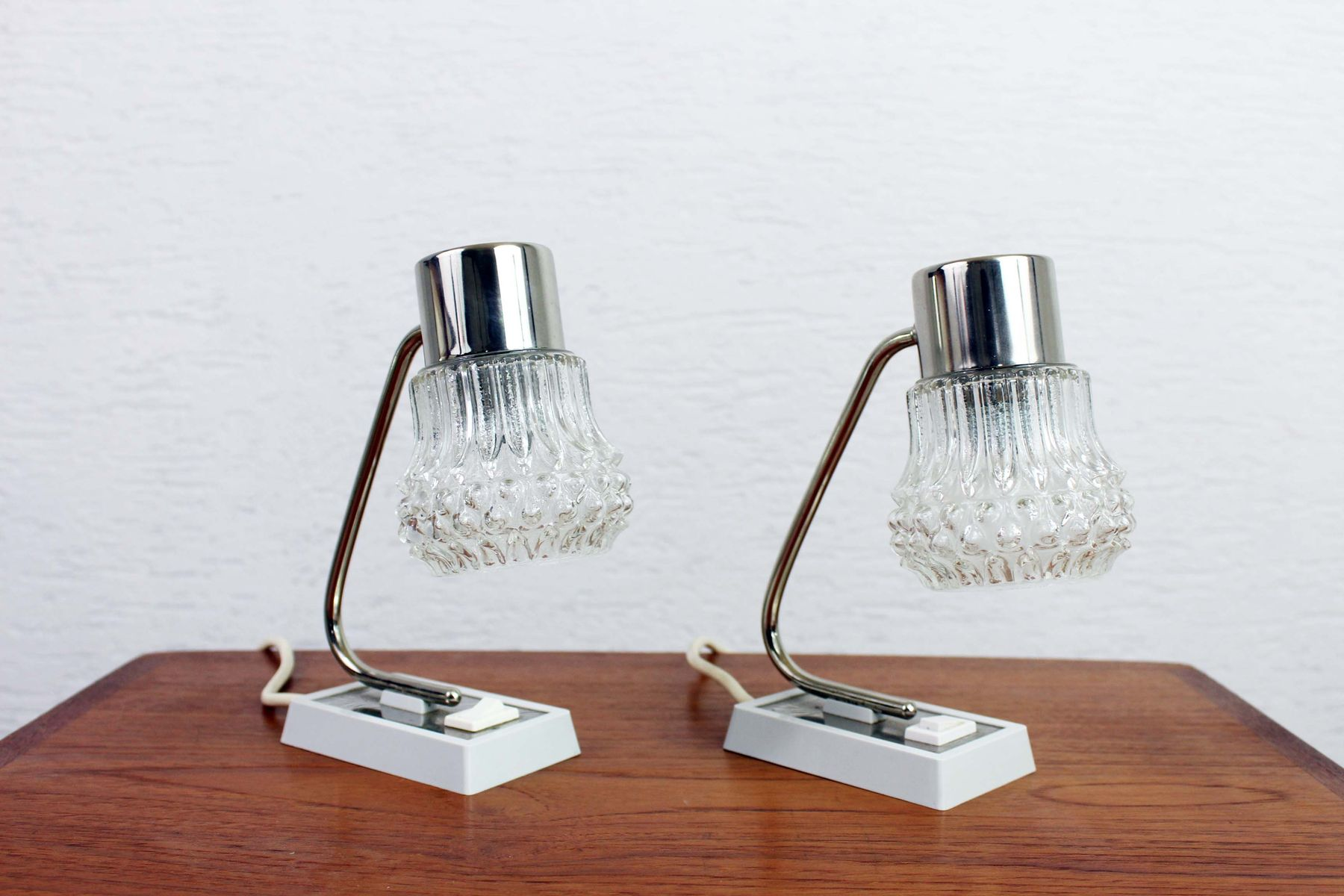 Vintage Art Deco Nachttisch Lampen, 2er Set
