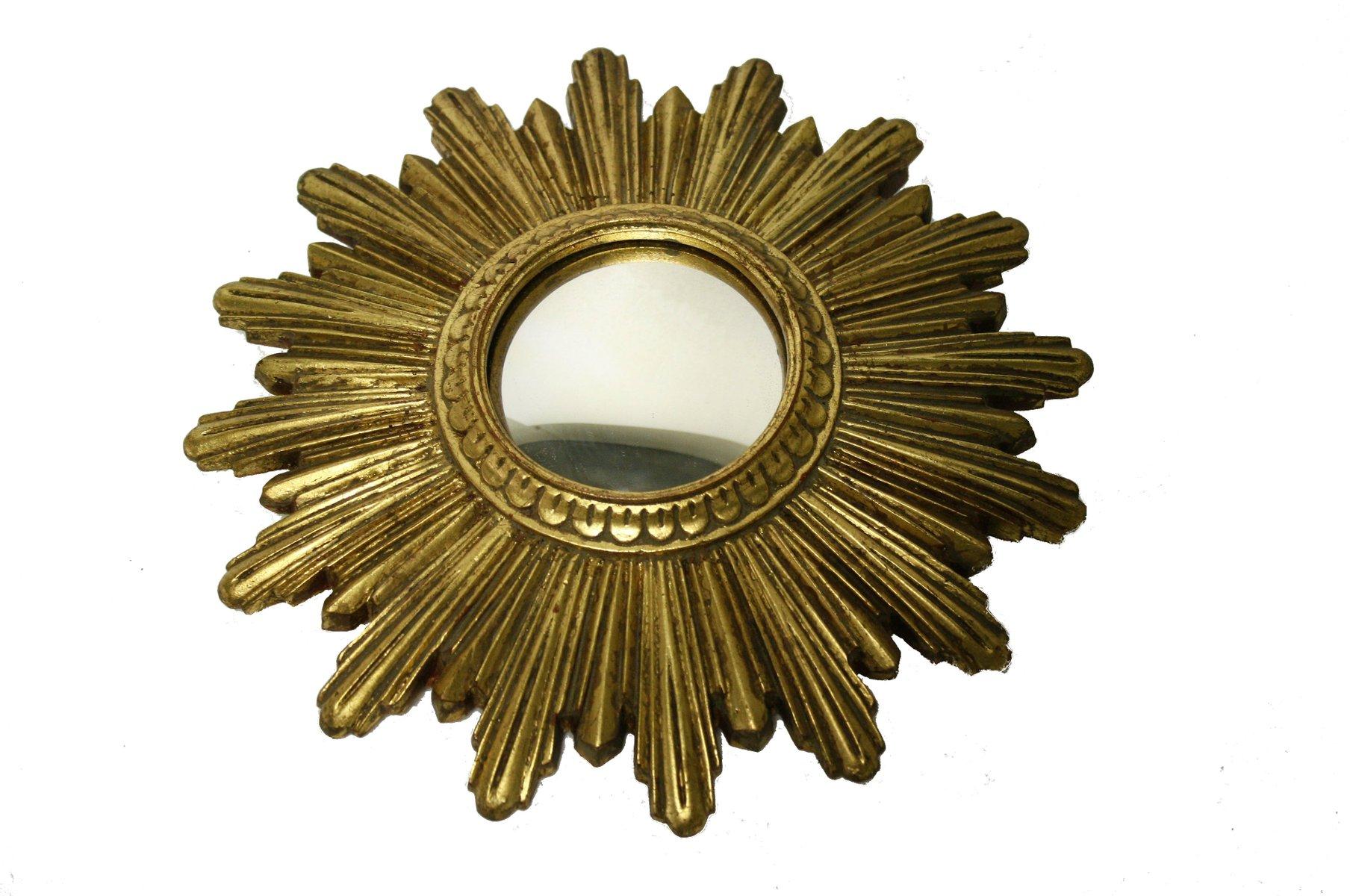 Specchio piccolo dorato a forma di sole anni 39 60 in vendita su pamono - Specchio a forma di sole ...