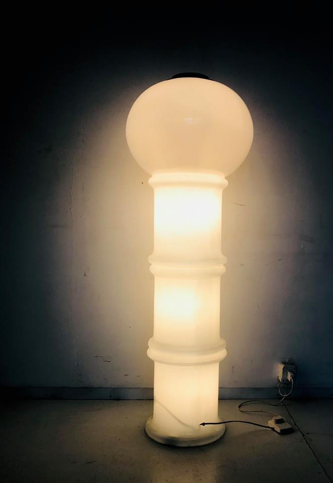 Lattimo Glas Stehlampe, 1960er