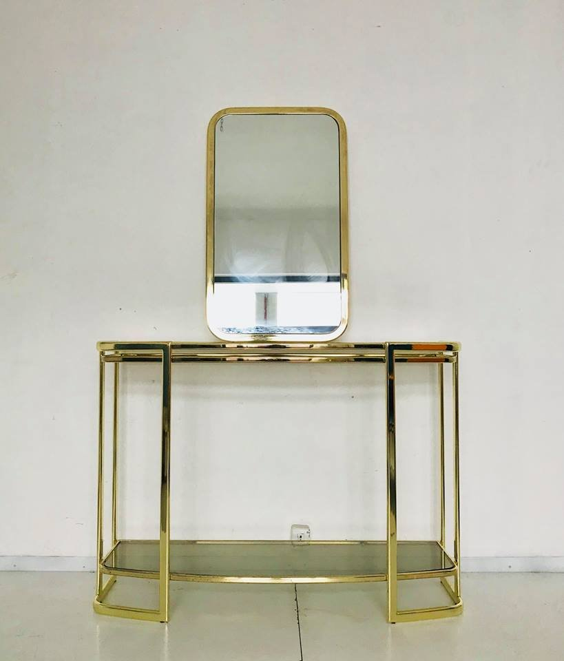 table console et miroir italie 1970s en vente sur pamono. Black Bedroom Furniture Sets. Home Design Ideas