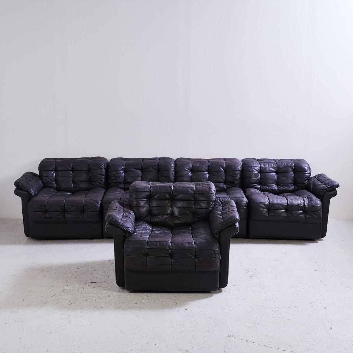 Model Ds 11 Black Leather Modular Sofa From De Sede 1970s