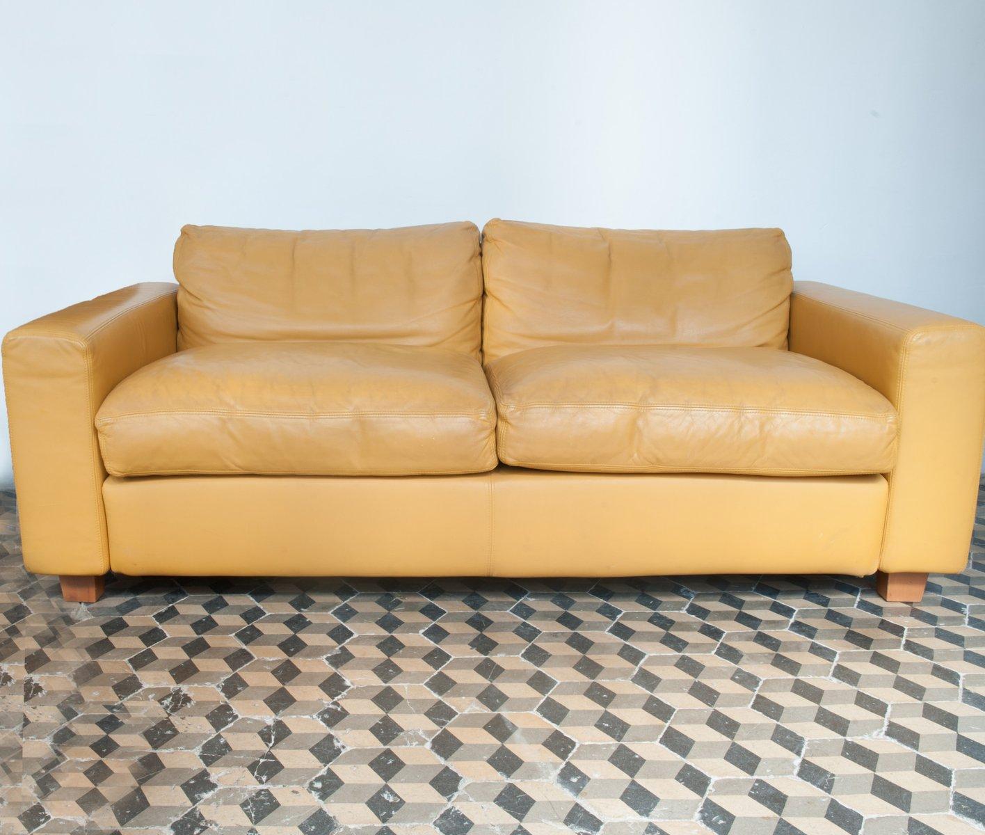 gelbes zwei sitzer leder sofa von jan de bouvrie f r gelderland 1980er bei pamono kaufen. Black Bedroom Furniture Sets. Home Design Ideas