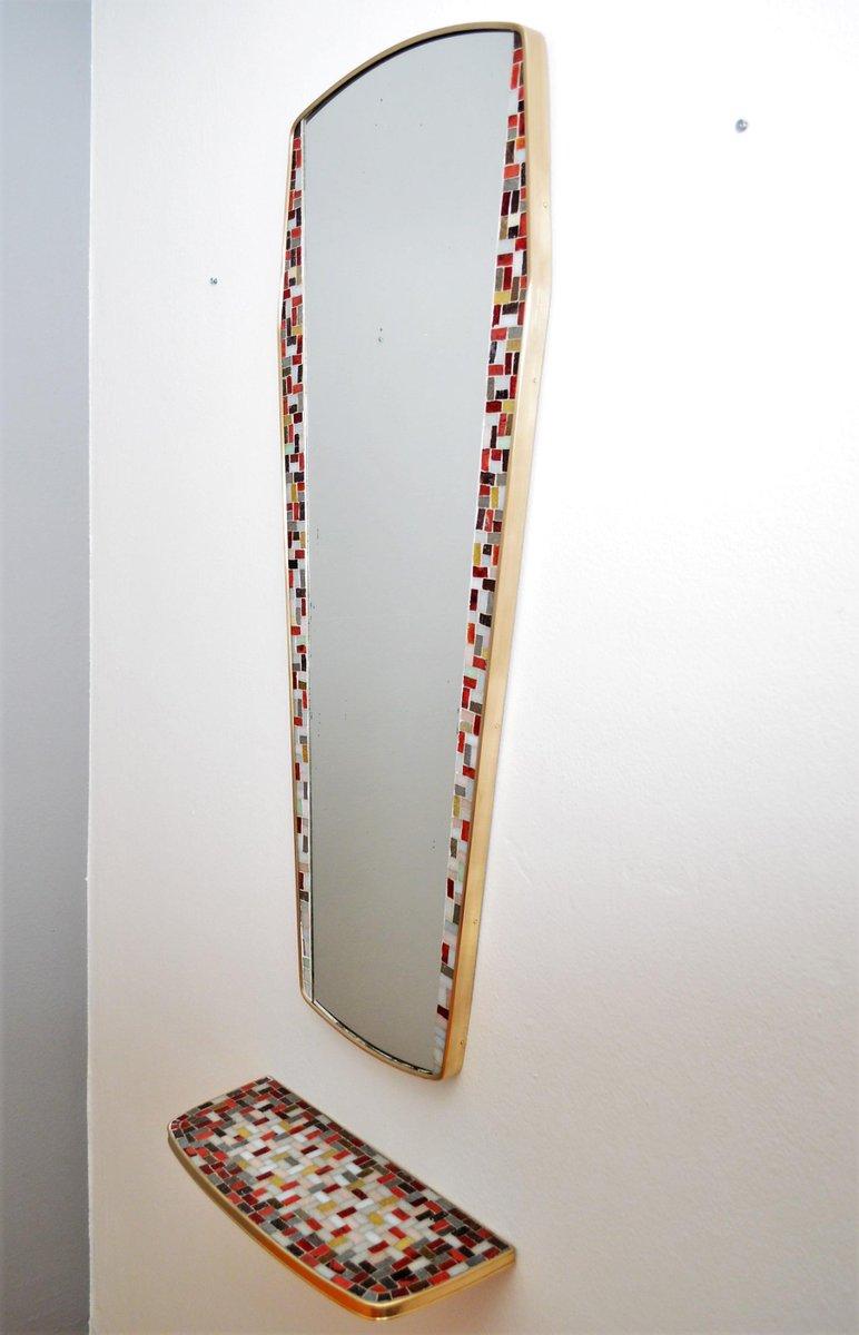 messing mosaik spiegel mit konsole 1950er bei pamono kaufen. Black Bedroom Furniture Sets. Home Design Ideas