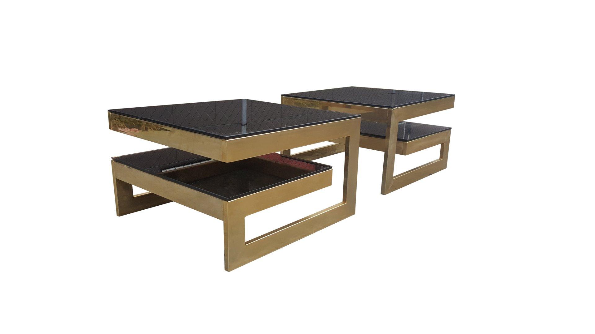 MidCentury Modern Karat Gold GSide Tables By Belgo Chrom Set - Mid century modern picnic table