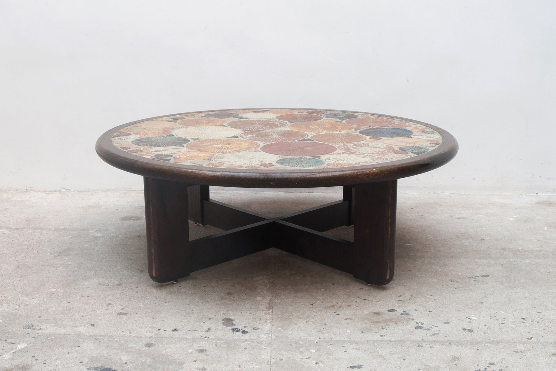 Grosser Runder Vintage Keramik Kachel Couchtisch Von Tue Poulsen Fur