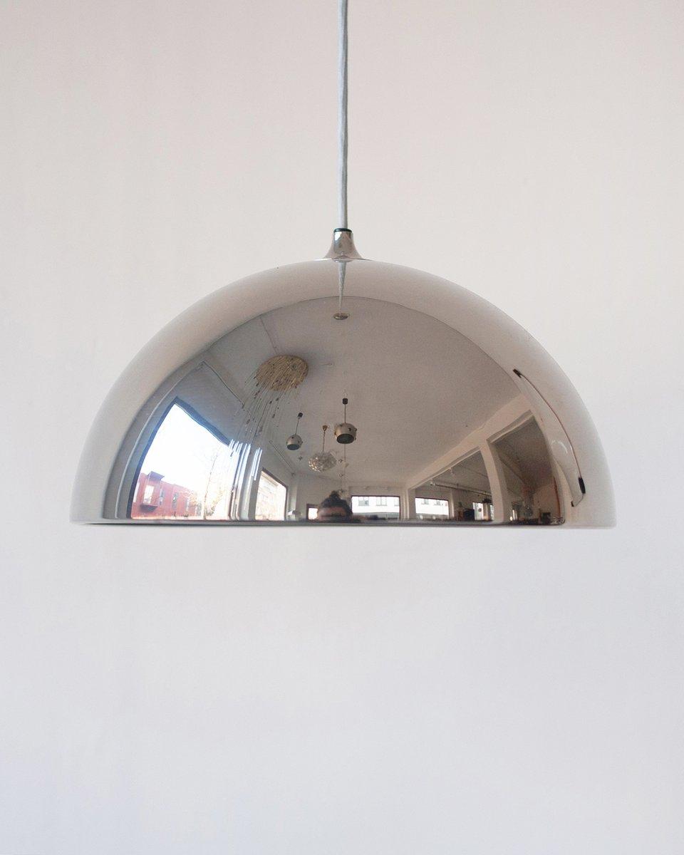 Deutsche verchromte Vintage Dome Hängelampe von Florian Schulz, 1970er