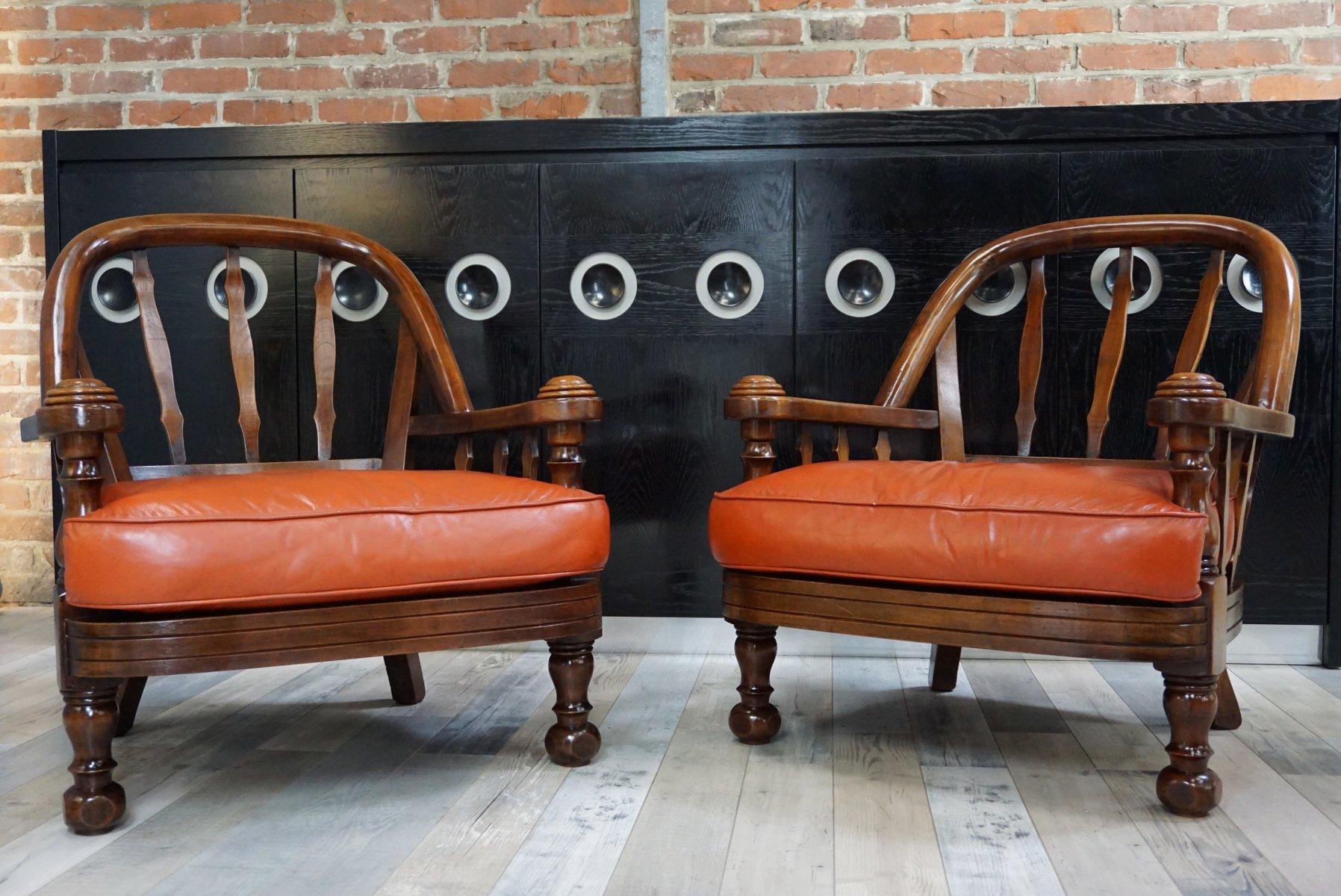 Vintage Sessel aus Holz & hellbraunem Leder, 2er Set