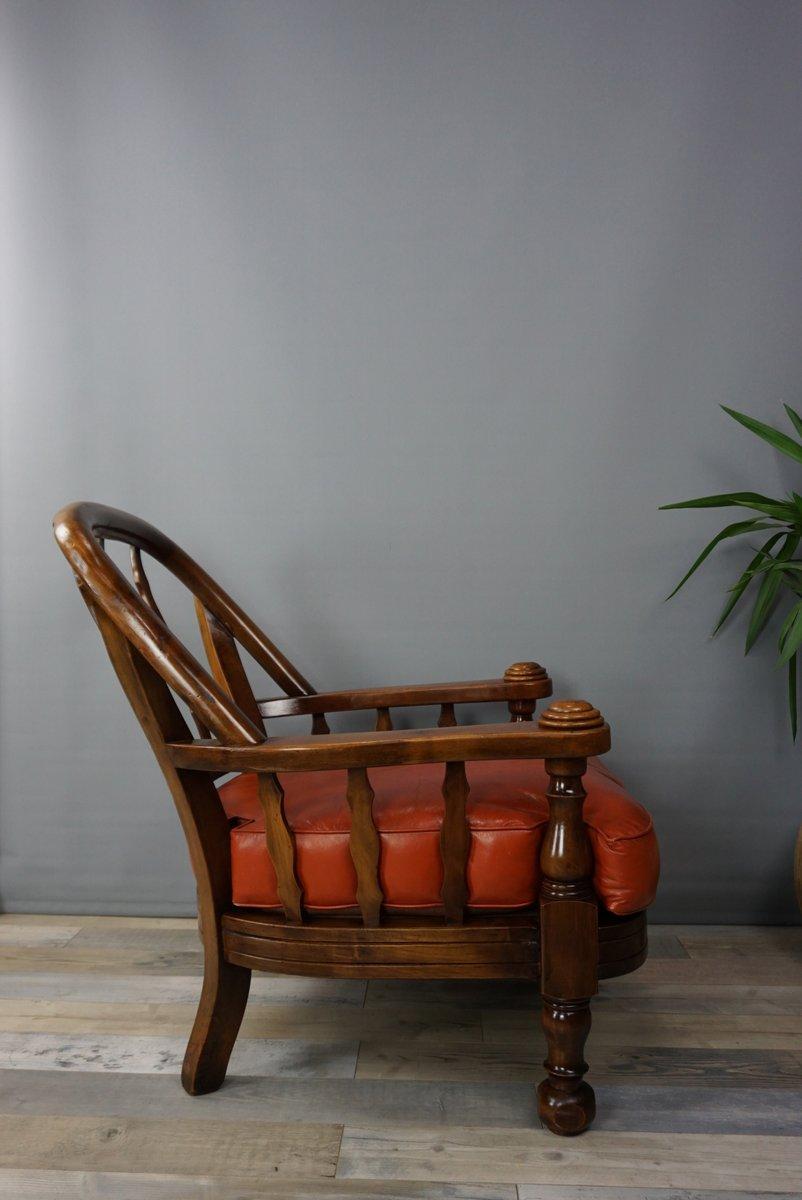 vintage sessel aus holz hellbraunem leder 2er set bei pamono kaufen. Black Bedroom Furniture Sets. Home Design Ideas