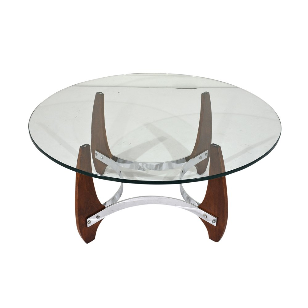 Chrome Coffee Table With Wood Top: Wood & Chrome Coffee Table, 1990s For Sale At Pamono