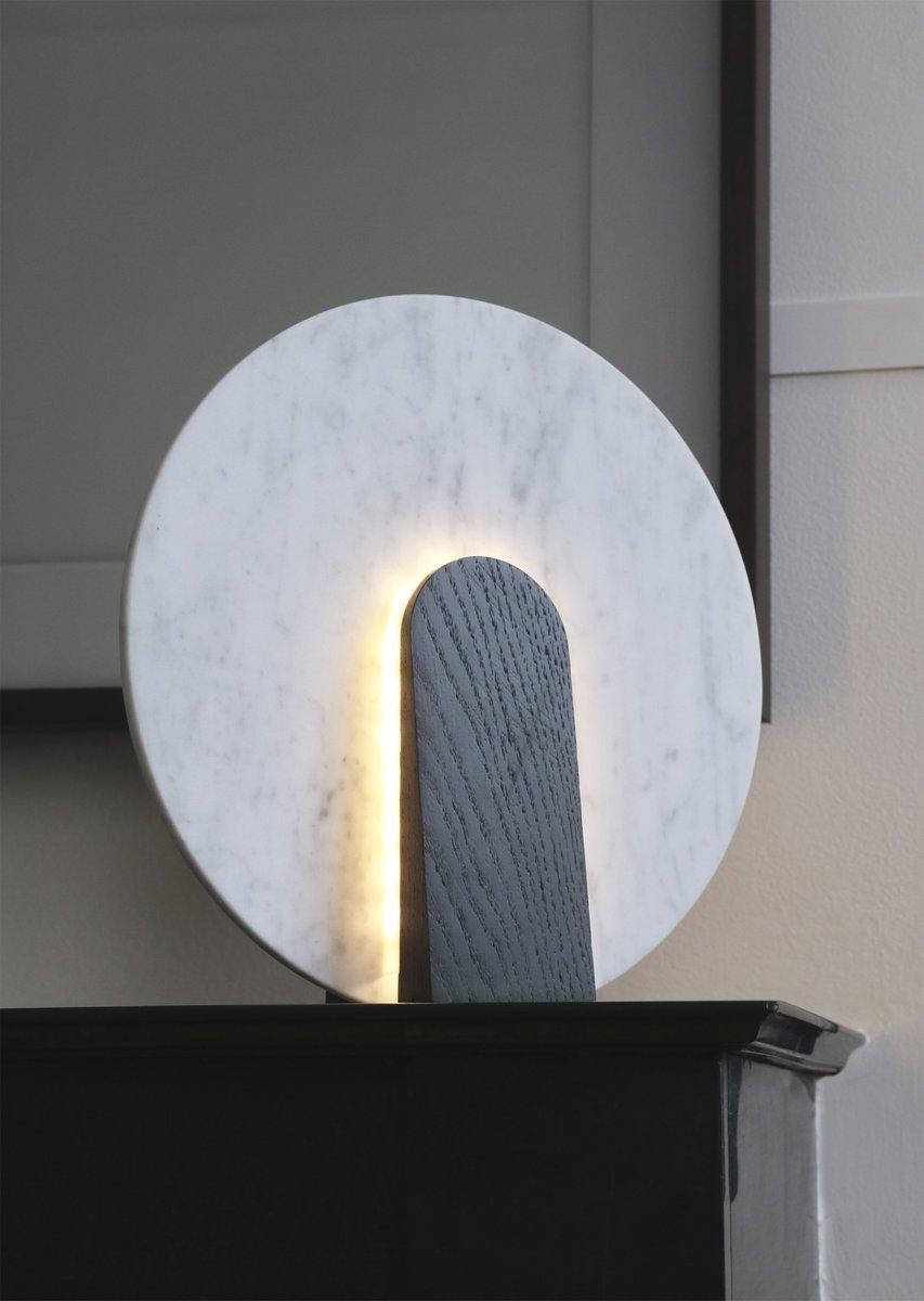 lune tischlampe aus marmor und gebeiztem holz von violaine d 39 harcourt 2016 bei pamono kaufen. Black Bedroom Furniture Sets. Home Design Ideas
