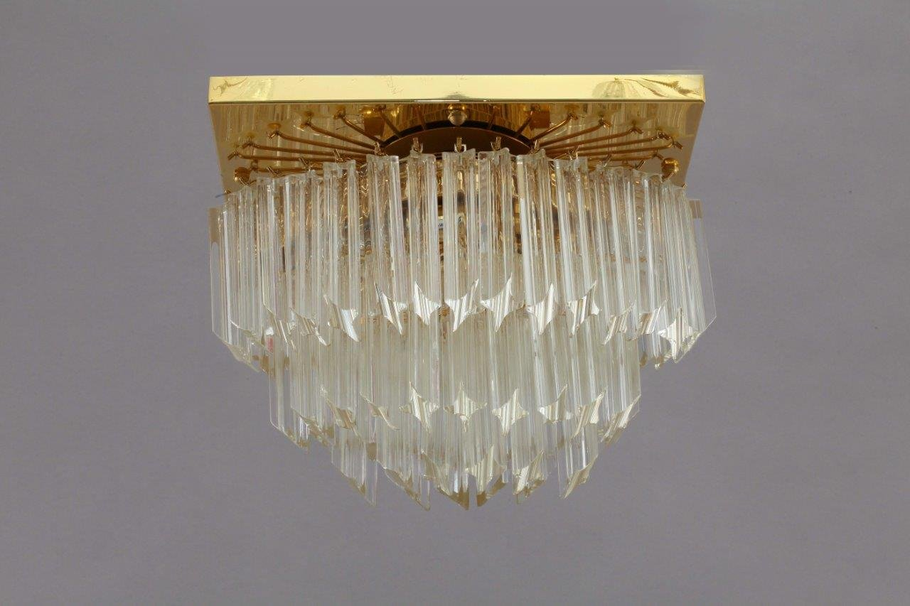 Vergoldete Rechteckige Kristallglas Lampe von Palwa, 1970er