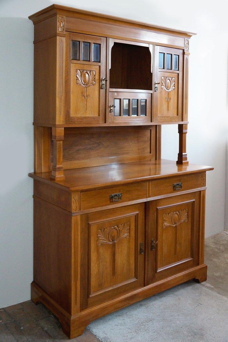 meuble de cuisine art nouveau en noyer en 2 parties 1910s en vente sur pamono. Black Bedroom Furniture Sets. Home Design Ideas