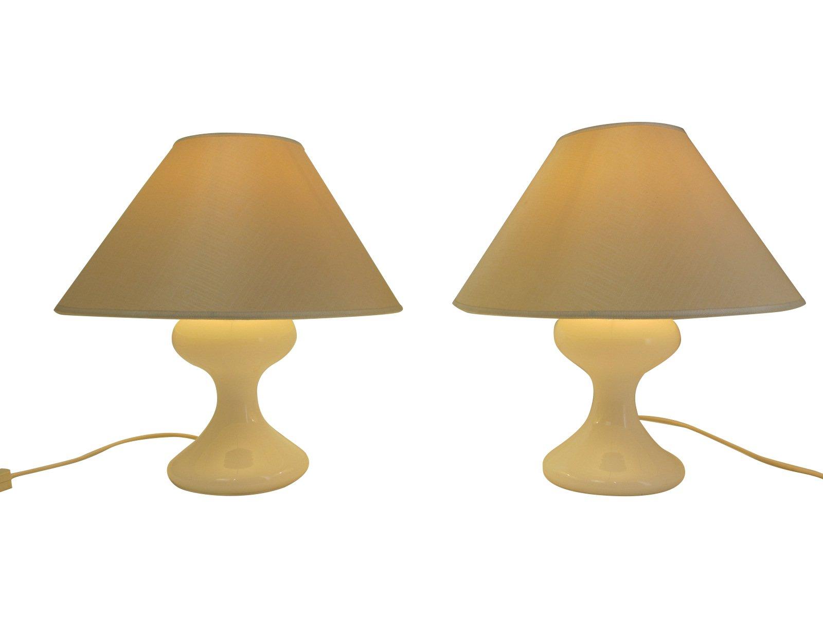 Weiße Deutsche ML 1 Glas Tischlampen von Ingo Maurer, 1967, 2er Set