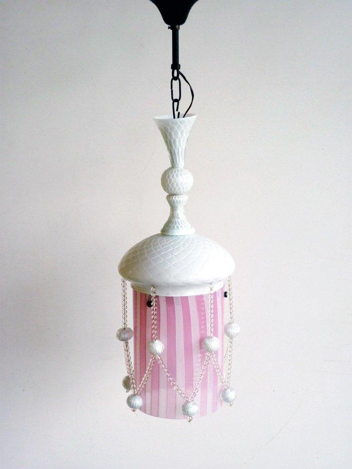 Art Deco Glas Hängelampe in Rosa & Weiß von Venini, 1930er