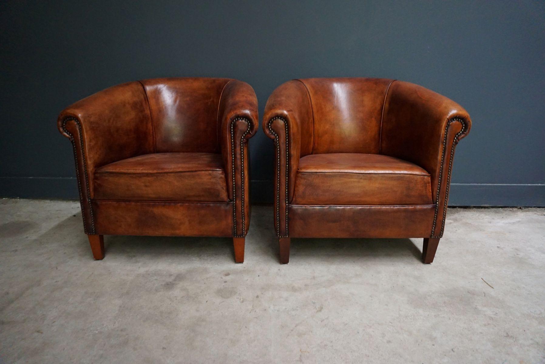 Vintage Dutch Cognac Leather Club Chairs Set Of 2